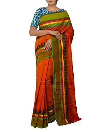 a24222faad Unnati Silks Women Orange Pure Handloom Kanchi Cotton Saree with Temple  border With Blouse from the Weavers of Tamilnadu(UNM27206): Amazon.in:  Clothing & ...