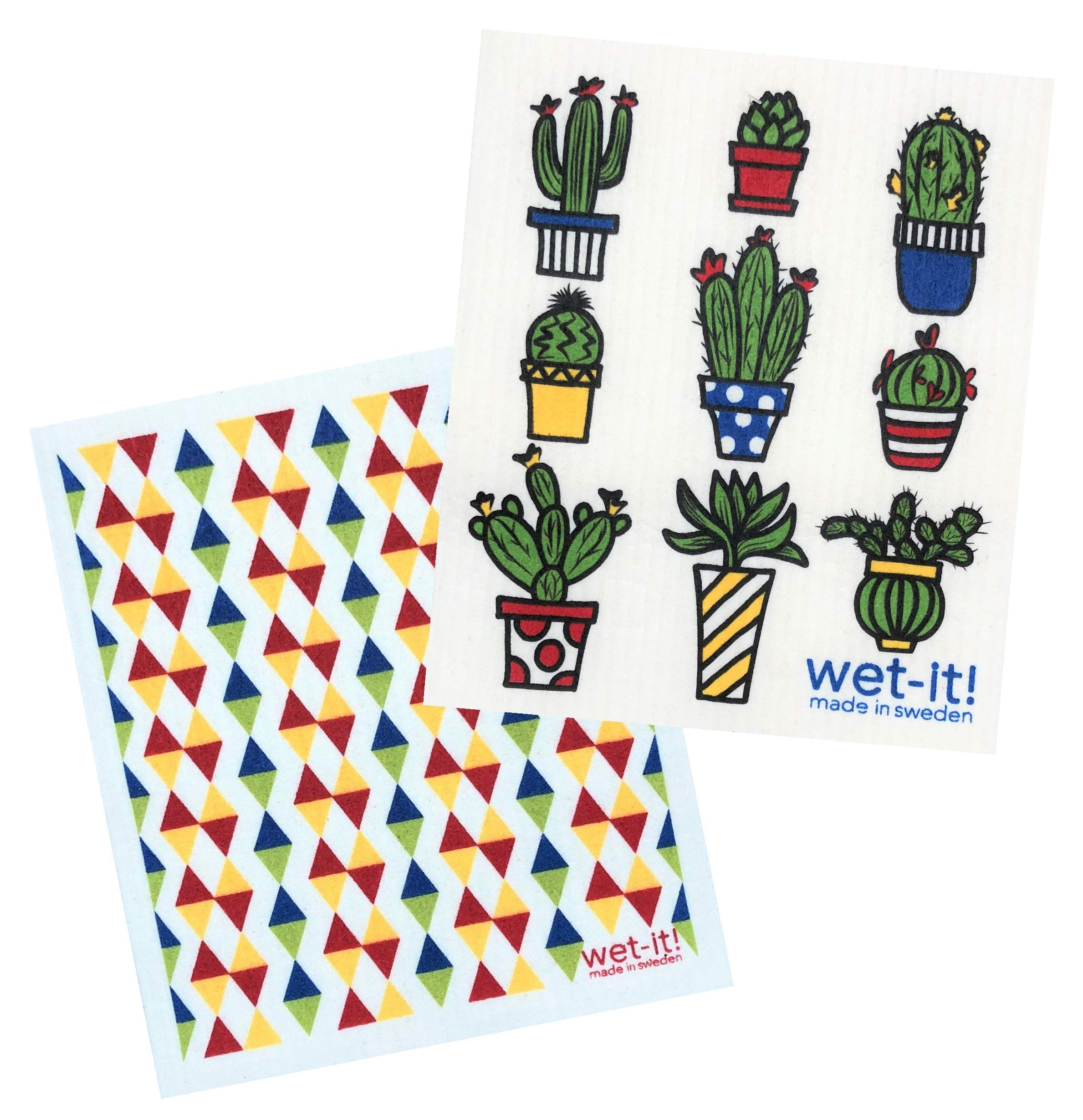 Wet-It! Swedish Dishcloths Set of 2 (Cactus Pots and Primary Bold Triangles)