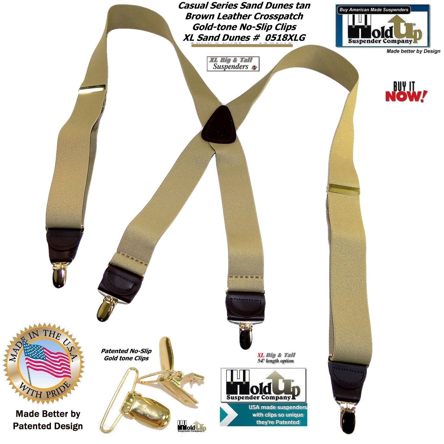 Hold Suspender Companys XL Sand Dunes light Tan Casual Suspenders in X-back and Patented Gold-tone no-slip Clips Holdup Suspender Company Inc 0518XLG
