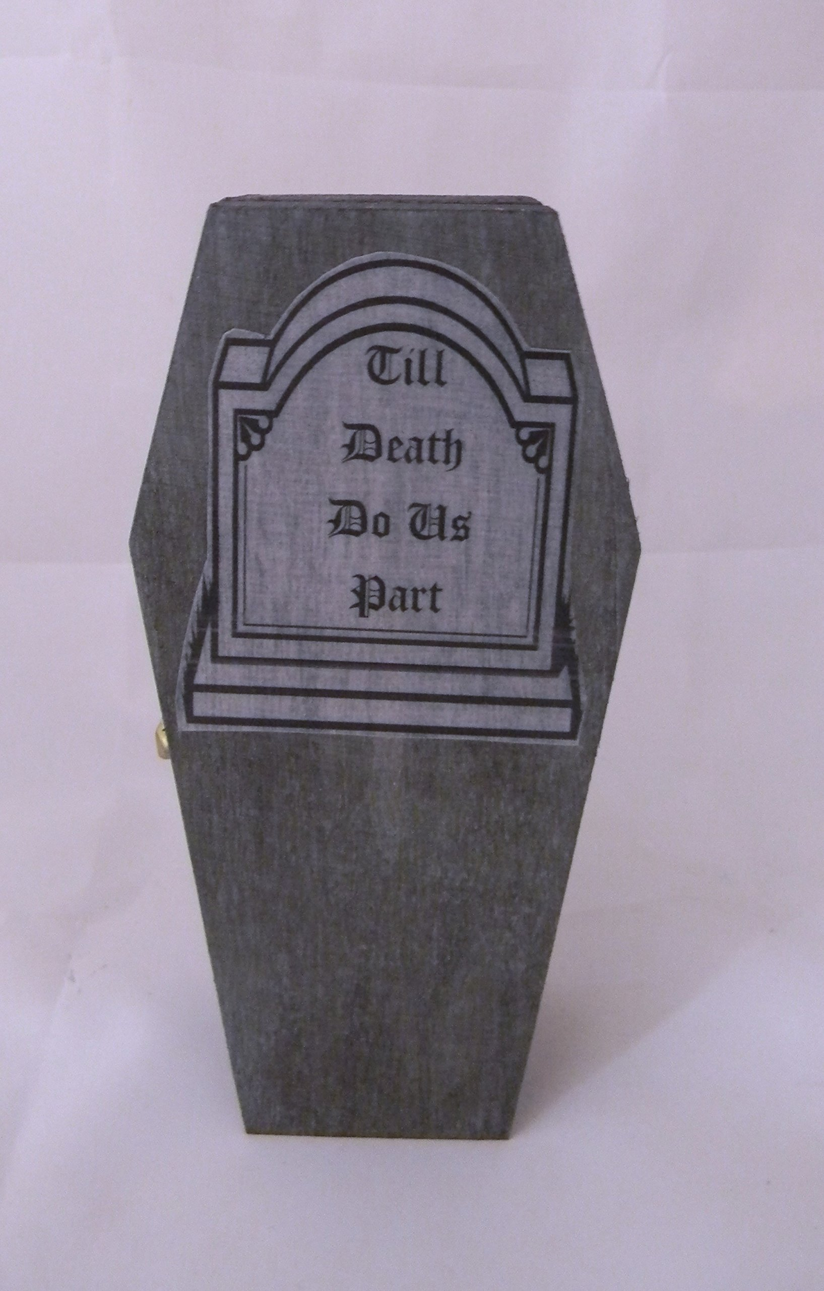 Wedding Party ceremony Gothic Wicca Coffin Tombstone ring bearer pillow Box by Custom Designed Wedding Supplies by Suzanne