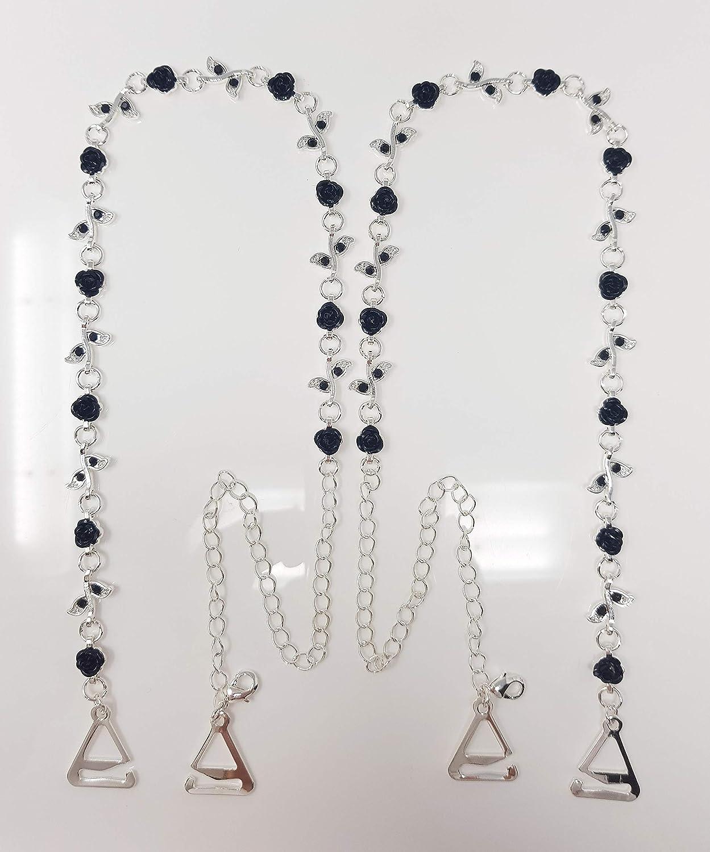 VNJewellery Coppia di Cinghie per Reggiseno con Rose Nere e Diamanti