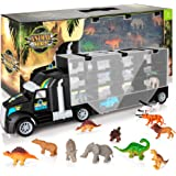 KIDWILL Dinosaur Transport Truck, Carrier Toy Car with Dinosaurs Wild Life Car Helicopter, Portable Handle Best Dinosaur…