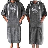 HOMELEVEL Poncho de playa de rizo unisex con capucha y bordado, 100% algodón