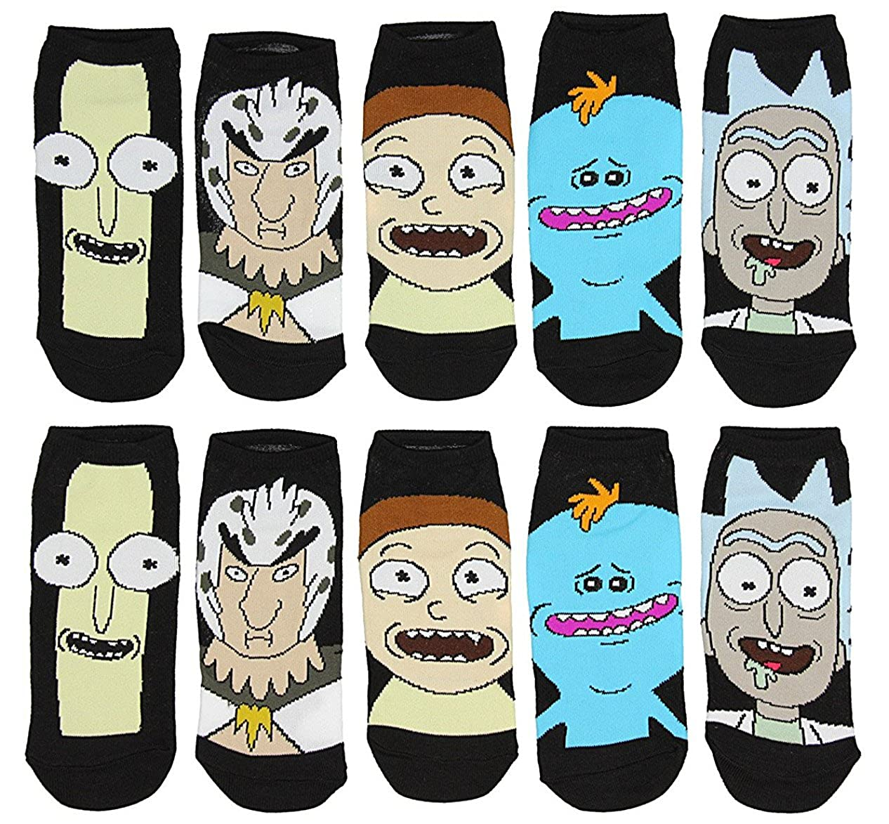 Rick and Morty Women's Low Cut Ankle Socks, Asst. Characters 5-Pack Hypnotic Socks