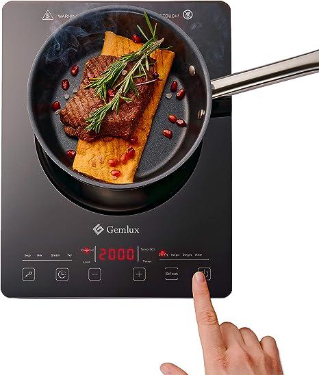 Gemlux Mobile GL-IP20SLIM - Placa de inducción (2000 W, bajo consumo, vitrocerámica, sensores táctiles, 60-240 grados, temporizador 180 min, portátil, ...