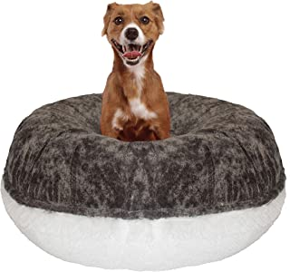 product image for BESSIE AND BARNIE Signature Koala/Snow White Luxury Shag Extra Plush Faux Fur Bagel Pet/Dog Bed