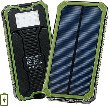 Cargador Solar de 15000mAh,Levin con 8 LED Luz L¨¢mpara,Bater¨ªa Solar Externa Port¨¢Til,Solar Charger Panel Power Bank para iPhone,M¨®vil(Verde): Amazon.es: Electrónica