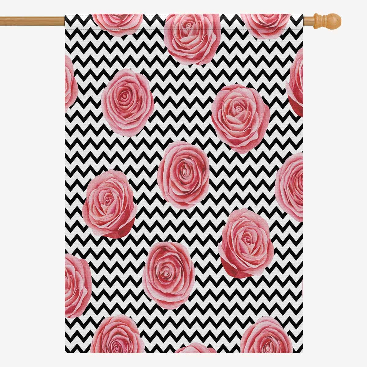 2d28cb741370 Amazon.com : INTERESTPRINT Fashion Chevron Zigzag with Pink Rose ...