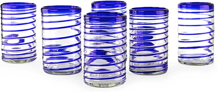 "Lot Of 4 5 3//4"" Cobalt Blue Rim  Glass Drinking Glasses kitchen drinkware"