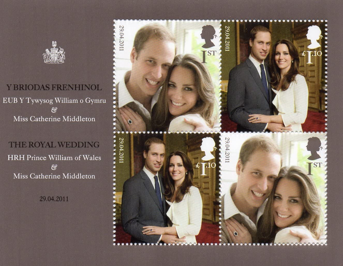 2011 William and Kate Royal Wedding Stamps in Presentation pack by Royal Mail