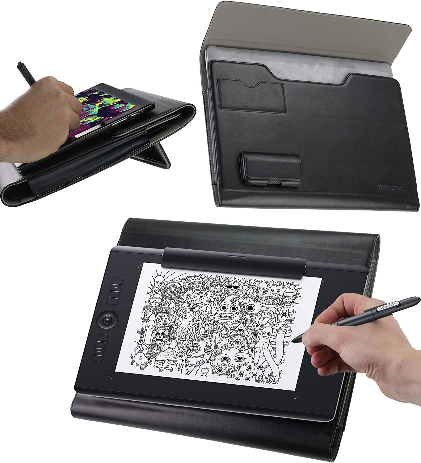 Broonel Luxury Leather Graphics Tablet Case with Built-in Ergonomic Stand Compatible with The Wacom Intuos Pro Small Graphics Tablet