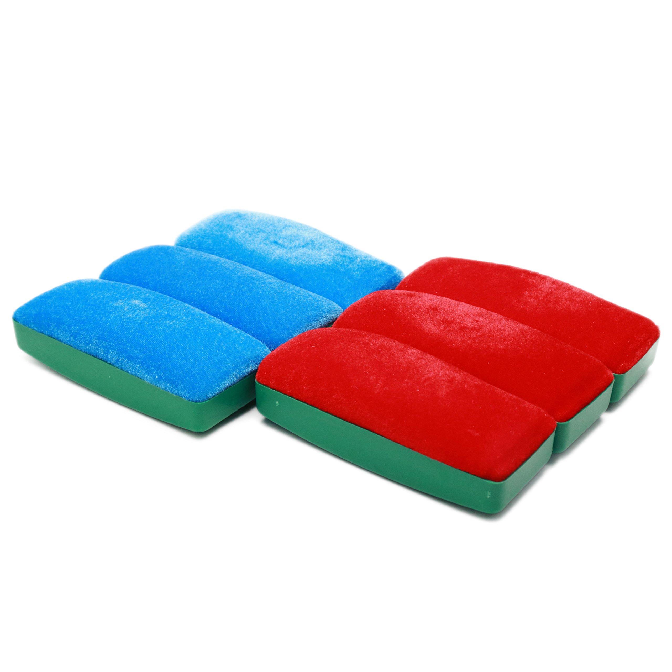 LDEXIN 6pcs Tomato Print Magnetic Velvet Chalk Blackboard Eraser Cleaner Navy Blue and Dark Red