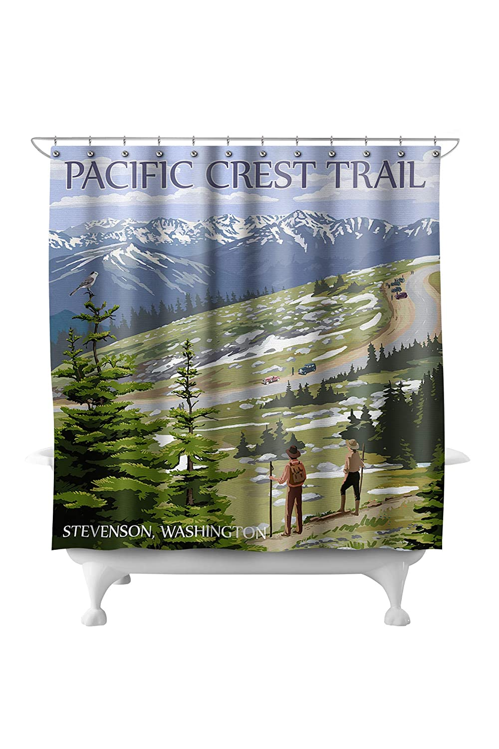 Stevenson, Washington - Pacific Crest Trail and Hikers 71342 (74x74 Polyester Shower Curtain)
