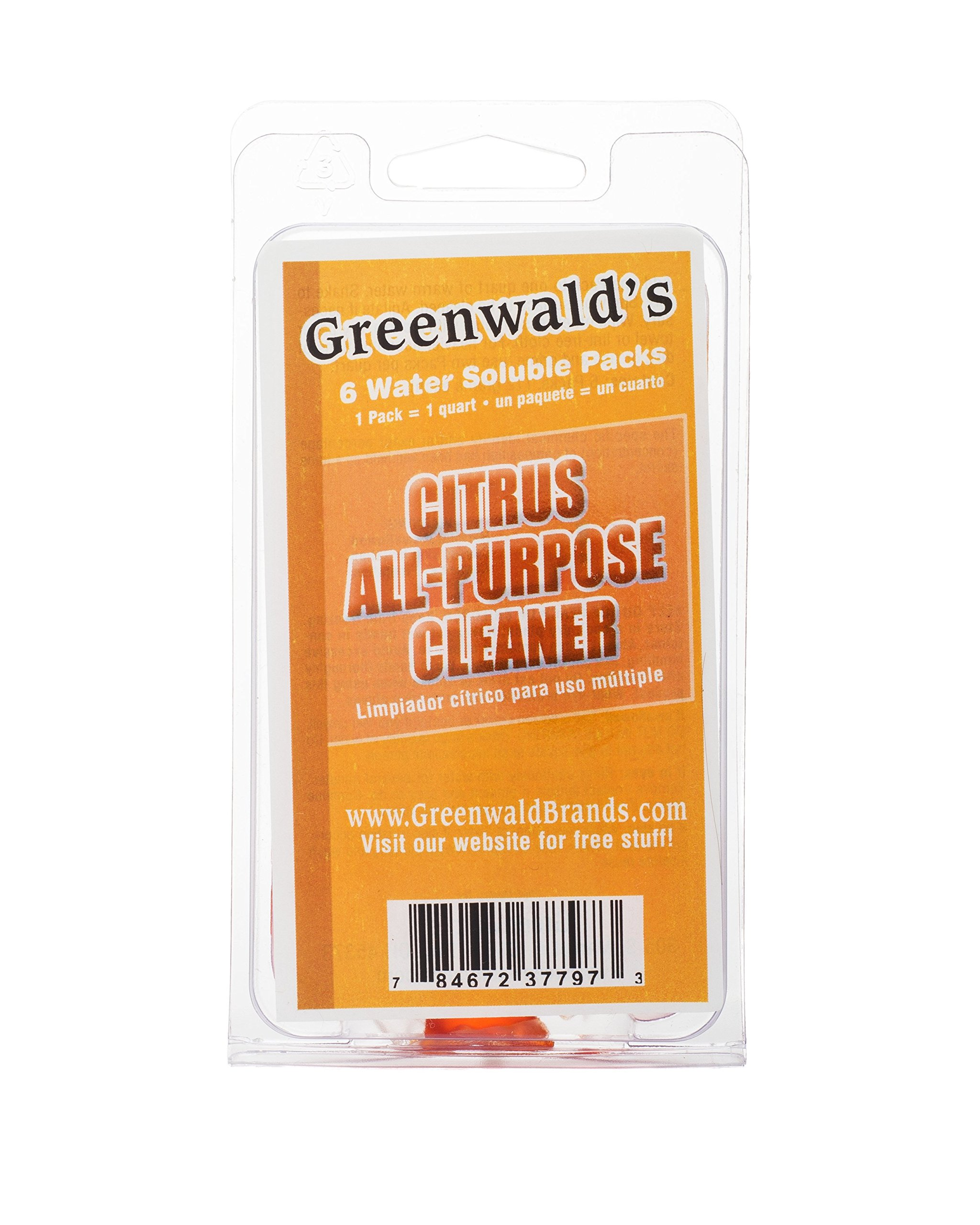 Greenwald's All Purpose Cleaner Refill Tablets, Citrus, Pre-measured Liquid Concentrate Makes 6 32 Ounce Spray Bottles, Degreaser and Dirt, Grime, Mildew, Mold Remover, for Home, Car, Office Cleaning