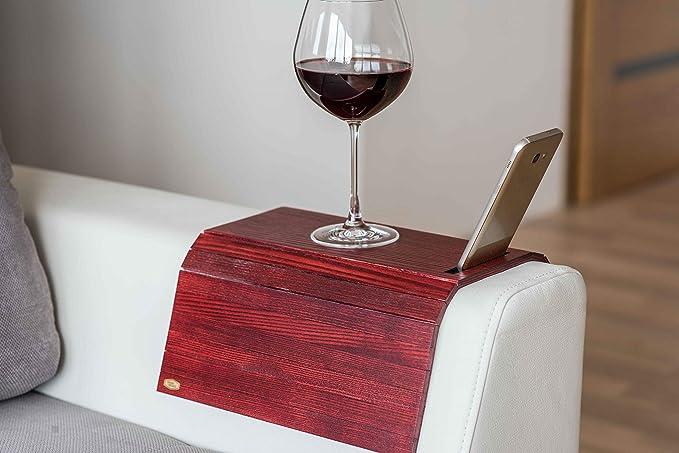 Ewart Woods Holz Sofa Arm Tablett Protektoren Armlehne Tisch Sofa Tisch Coaster Handyhalter Farbe Palete Sofa Organizer Glas Cup Holder Natural Rot Küche Haushalt