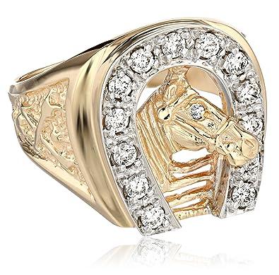 Men s 14k Two Tone Gold Diamond Horseshoe Ring 1 2 cttw H I