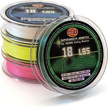Yellow Fishing Line WFT ARDENT  Gliss Supersmooth  Monotex  8 LBS 150 yards