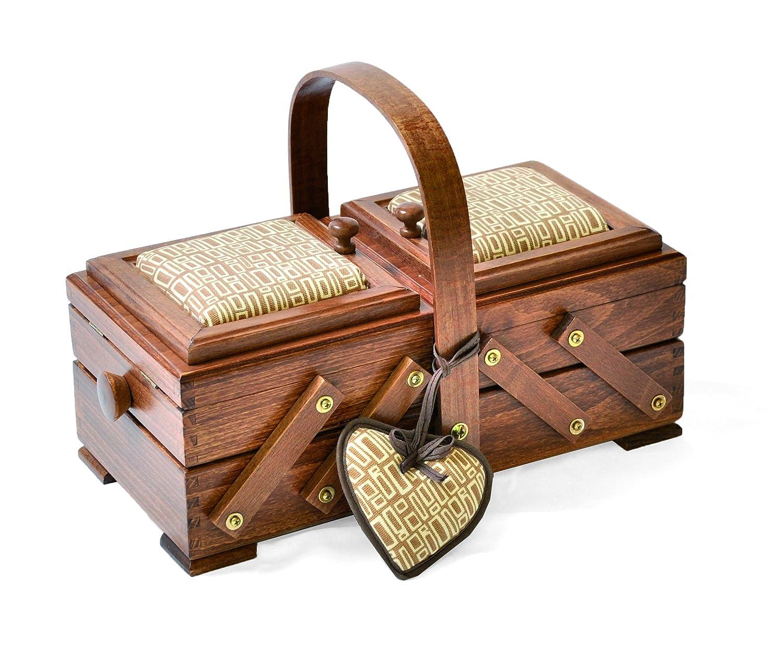 Sconosciuto Aumuller Korbwaren Gmbh and Co. - Cesto da cucito in legno di faggio, con puntaspilli a forma di cuore, colore: rosso uk home 31/224/K2