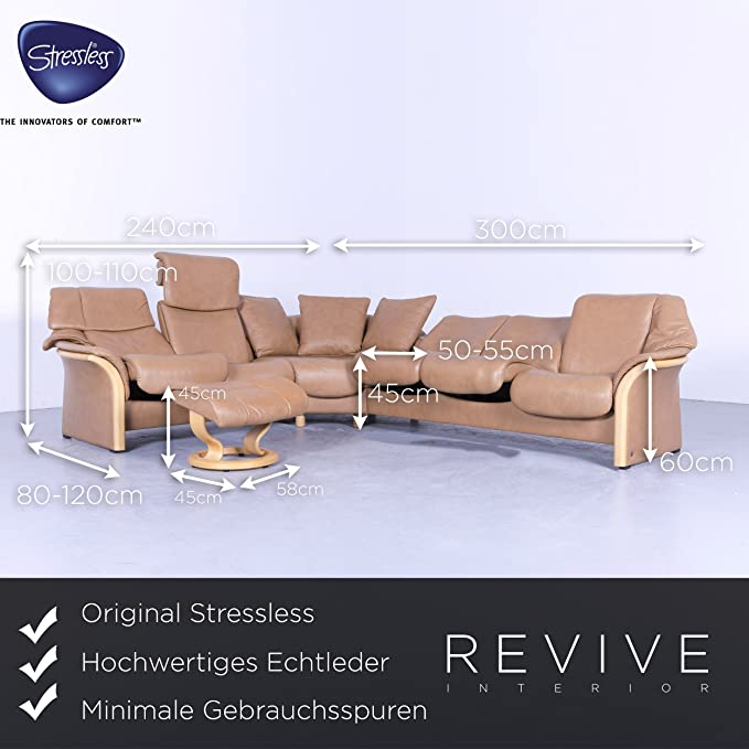 Ekornes Stressless Leder Eck Sofa Garnitur Cognac Braun Relax