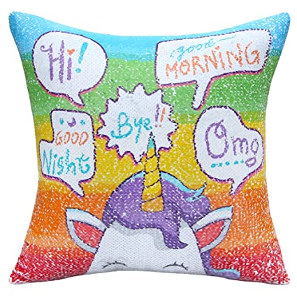 Amazon Com Icosy Unicorn Mermaid Pillow Case Magic Reversible