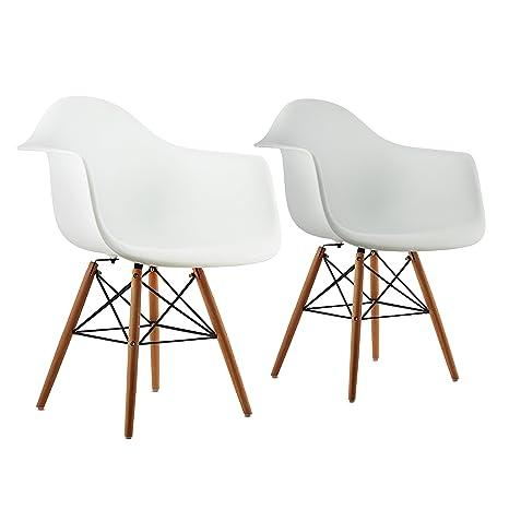 70er Jahre Sitzfläche 2er Look • Retro Set Oneconcept Schalenstuhl Breite Stuhl Designstuhl Bellagio Hochwertige TKcFJl13