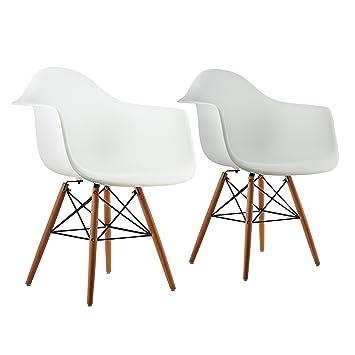 OneConcept Bellagio O Chaise Coque Design Retro Lot De 2