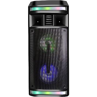 DYNASONIC - DY-65201 Altavoz Inalámbrico Sistema de Audio | Bluetooth, Altavoz Portatil, USB, Luces Multicolor, Radio FM, Micrófono, Color Negro