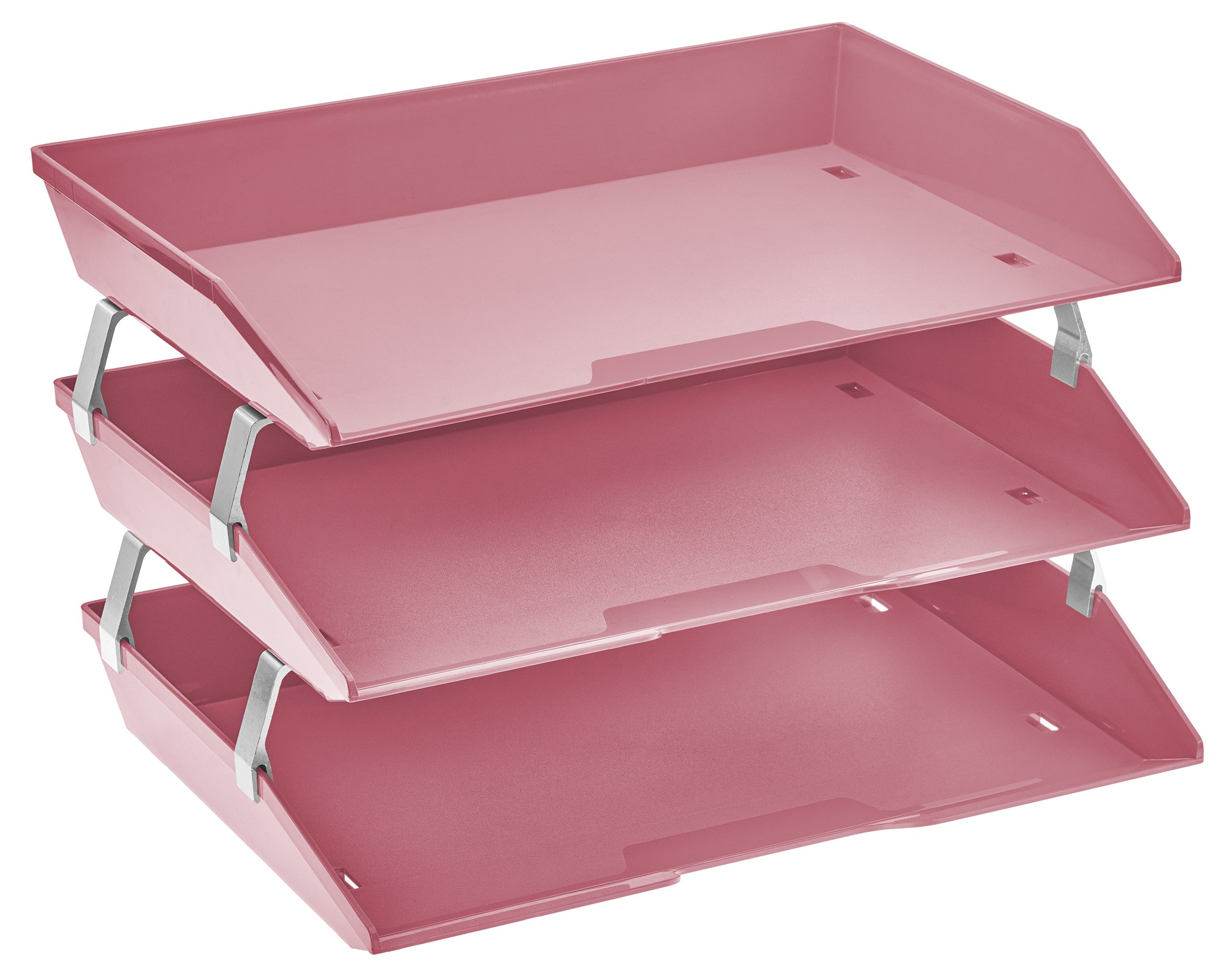 Acrimet Facility 3 Tiers Triple Letter Tray (Solid Pink Color)