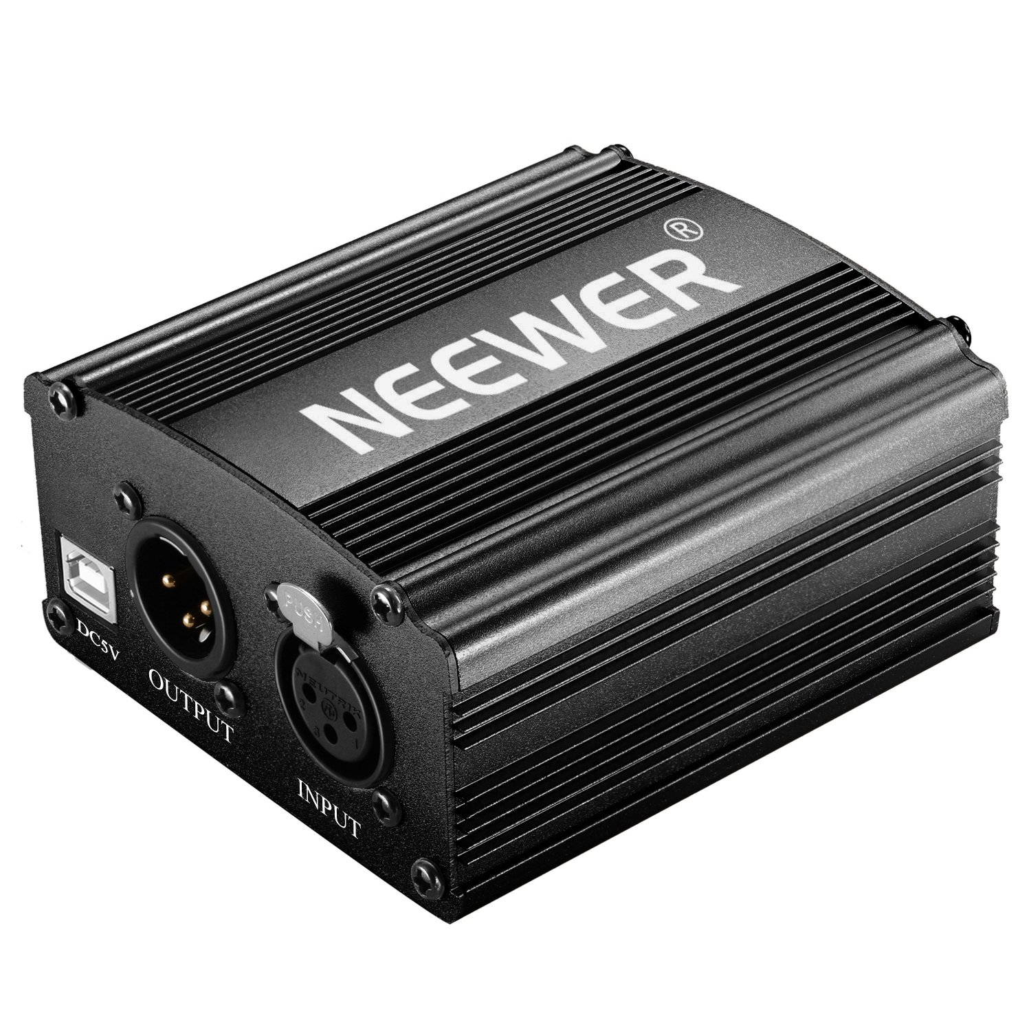 Neewer 2 Packs 1-Channel 48V Phantom Power Supply with 5 feet USB Cable XLR 3 Pin Male to female Microphone Cable for Any Condenser Microphone Music Recording Equipment