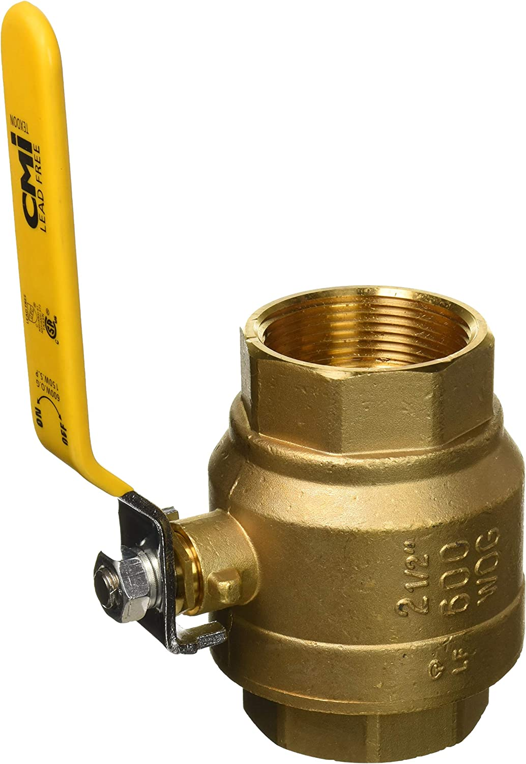 2 Brass Ball Valve Threaded Mechanical Lead Free Vinyl Lever Handle 2-Inch Female Thread Inline Steam Oil 600 WOG Supplies Hot Cold Pipes CSA IPS Full Port Irrigation Water Valves