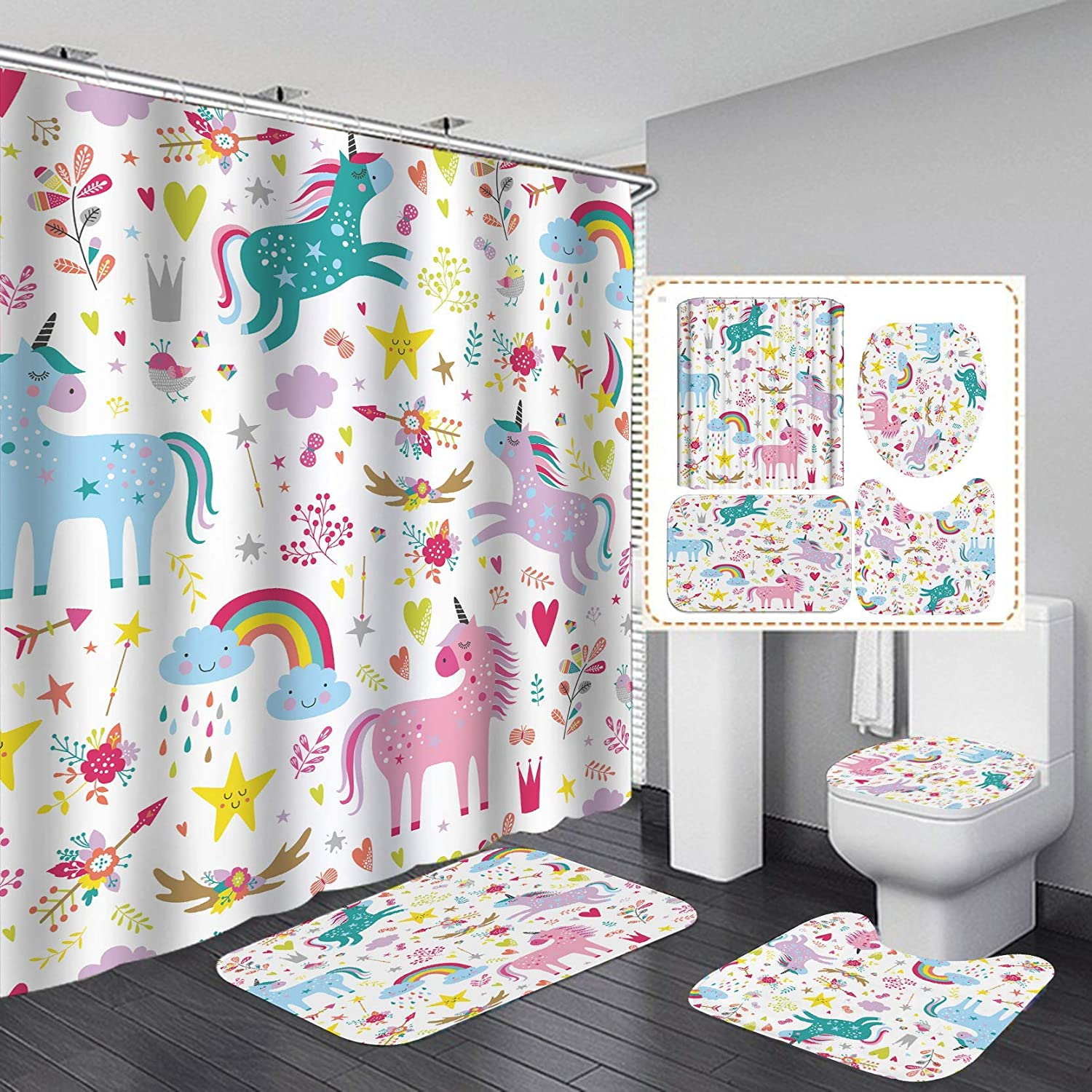 4 PCS Rainbow Unicorn Shower Curtain Sets with Non-Slip Rugs and Toilet Lid Cover Colorful Cute Cartoon Animal Bath Decor Shower Curtains 72