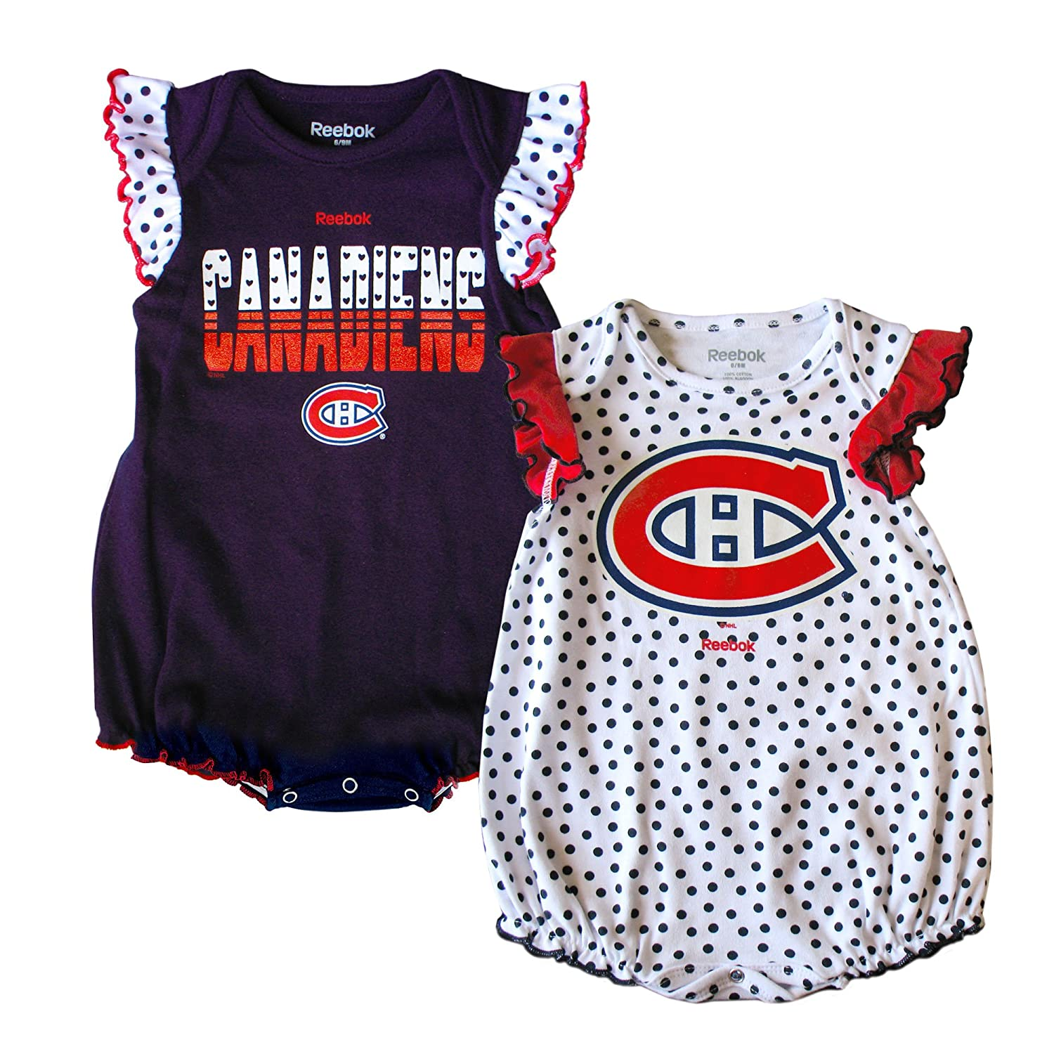 Montreal Canadiens Newborn Girls Polka Fan 2-Pack Bodysuit Set Reebok