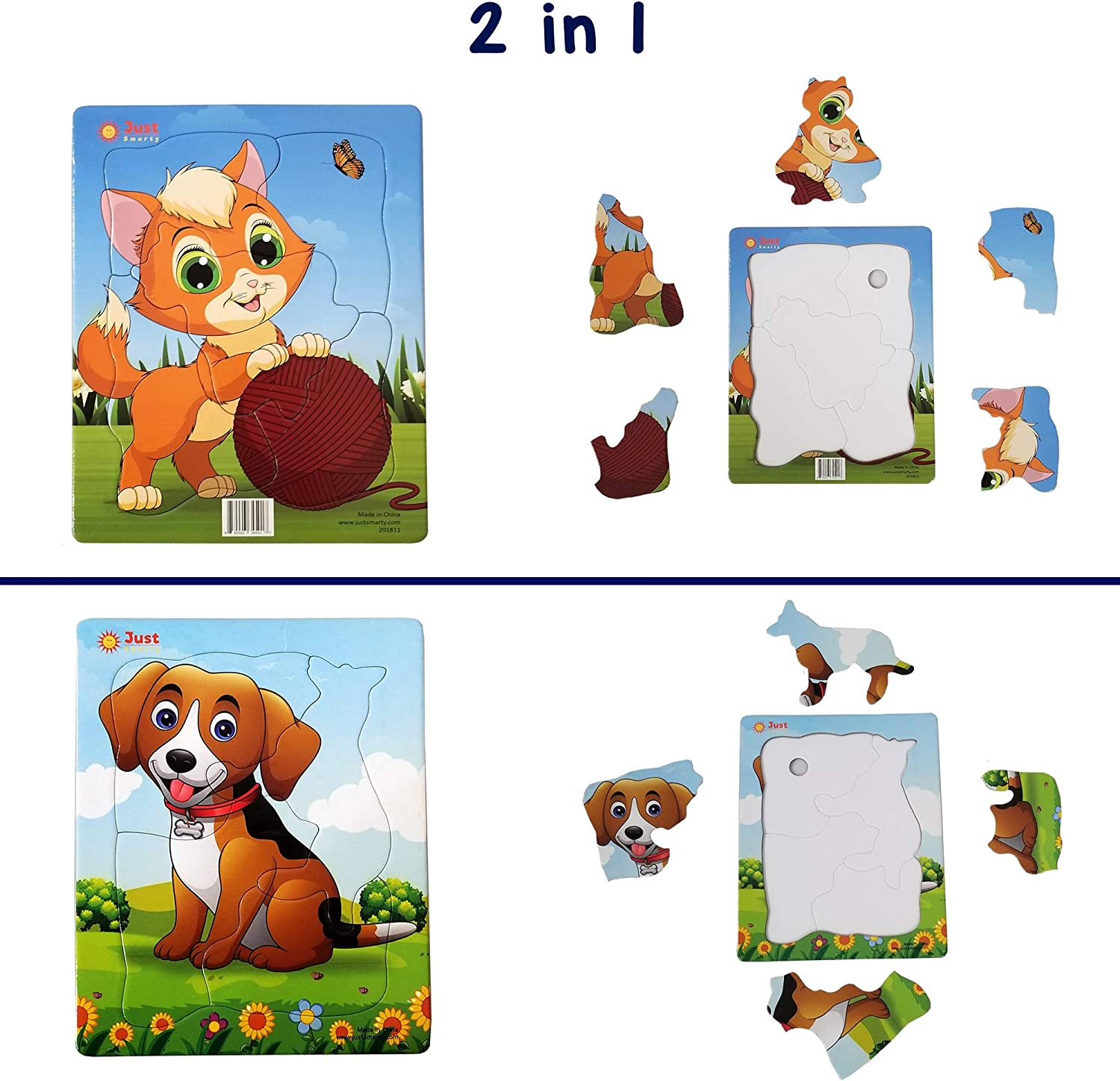 """Just Smarty Beginner Preschool Jigsaw Puzzles Set of 2 for Kids Ages 3, 4, 5 with Fun Shapes and 6.5""""x8"""" Tray, 4 and 5 Pieces. Fun Learning Educational Toy for Toddlers Boys Girls at Home. Level 1"""