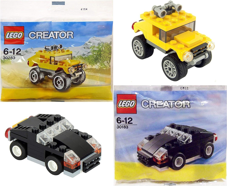 LEGO Creator Mini Vehicle Bundle: Off Road Yellow Truck 30283 and Mini Black Car 30183