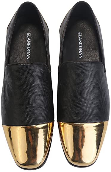 ELANROMAN Men Loafer Dress Leather Black Shoes Emboss Snakeskin with Gold  Toe Fashion Penny Casual Loafers 865f86064e0c