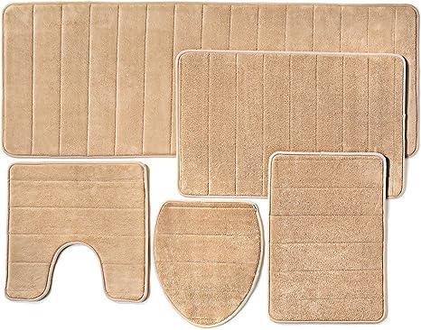 Amazon Com Over The Floor Bathroom Rug Mat 5 Piece Set Memory Foam Extra Soft Non Slip Back Color Beige Pantone 15 1314 Tpx Kitchen Dining