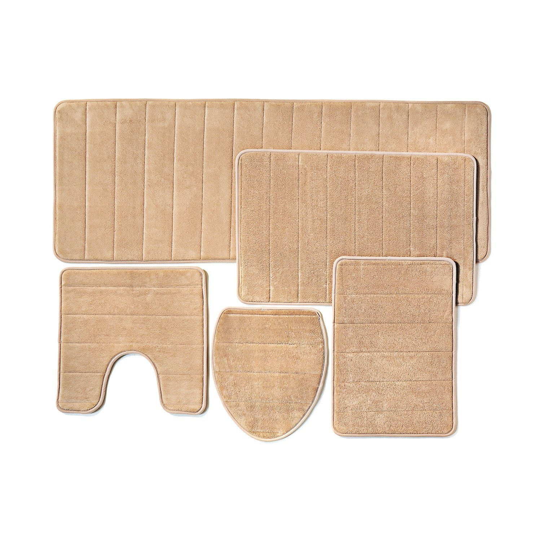 Bathroom Rug Mat, 5-Piece Set Memory Foam, Extra Soft Non-Slip Back (Beige)