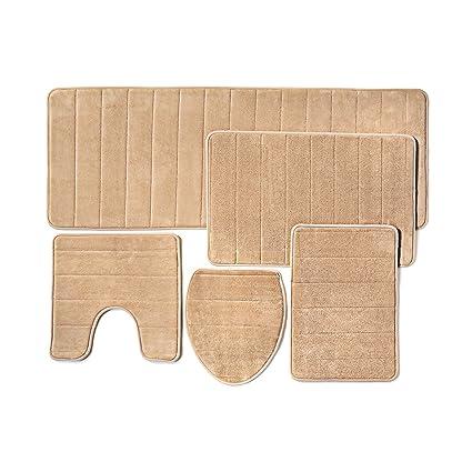 Exceptionnel Bathroom Rug Mat, 5 Piece Set Memory Foam, Extra Soft Non Slip