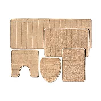Bathroom Rug Mat, 5 Piece Set Memory Foam, Extra Soft Non Slip