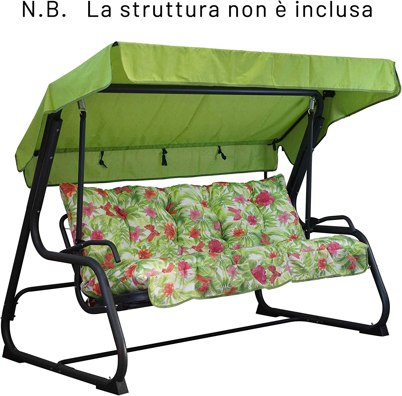 Incluso nel Ricambio Anche Il tettuccio Coordinato - Telaio Non Incluso 100/% Made in Italy Ideale per Esterni Giardini e Cortili TECNOWEB Cuscini per Dondolo 3 Posti