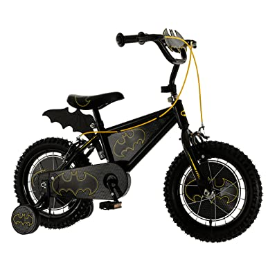 MV Sports Boys' Kids Bike Black 14 Inch 1 Speed Bat Shaped Plaque and Fin Printed Wheel Discs and Printed Frame Insert 14-Inch Black : Sports & Outdoors