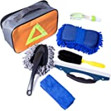 Car Cleanning Kit with Bag - Tire Brush | Chenille Wash Sponge | Duster | Window Water Scraper | Wash Cloth | Double Head Car Vent Brush