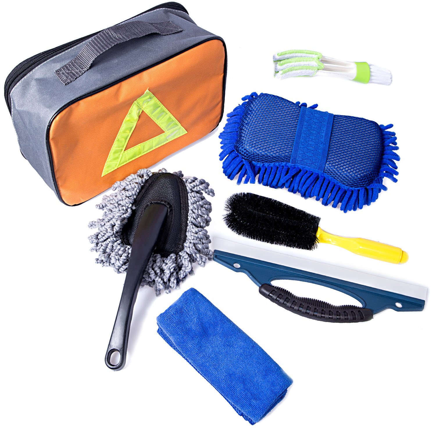 Car Washing Cleanning Tools Kit with Bag - Tire Brush | Chenille Wash Sponge | Duster | Window Water Scraper | Wash Cloth | Double Head Car Vent Brush