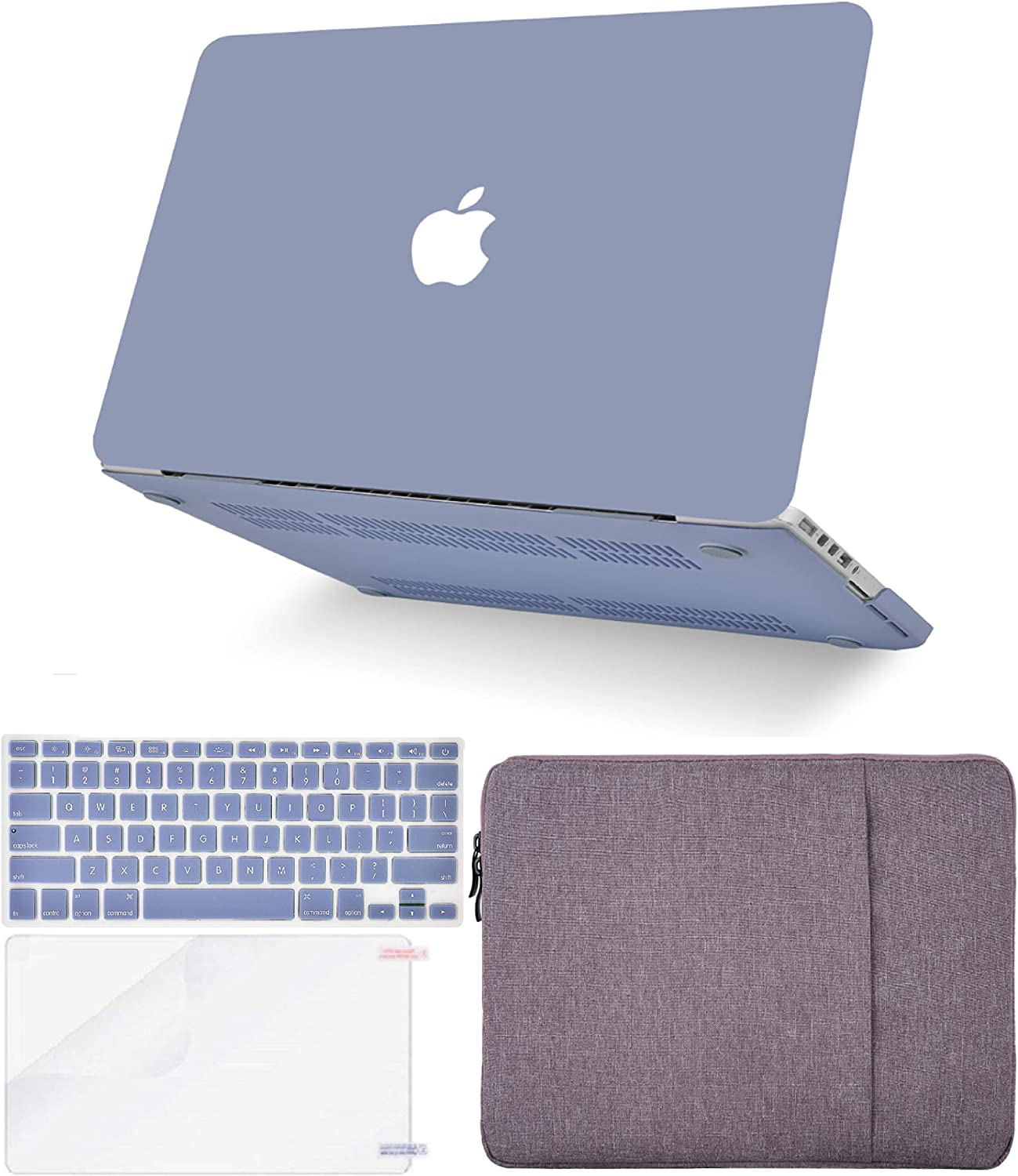"KECC Laptop Case for MacBook Pro 13"" (2020, Touch Bar) w/Keyboard Cover + Sleeve + Screen Protector (4 in 1 Bundle) Hard Shell A2289/A2251 (Lavender Grey)"