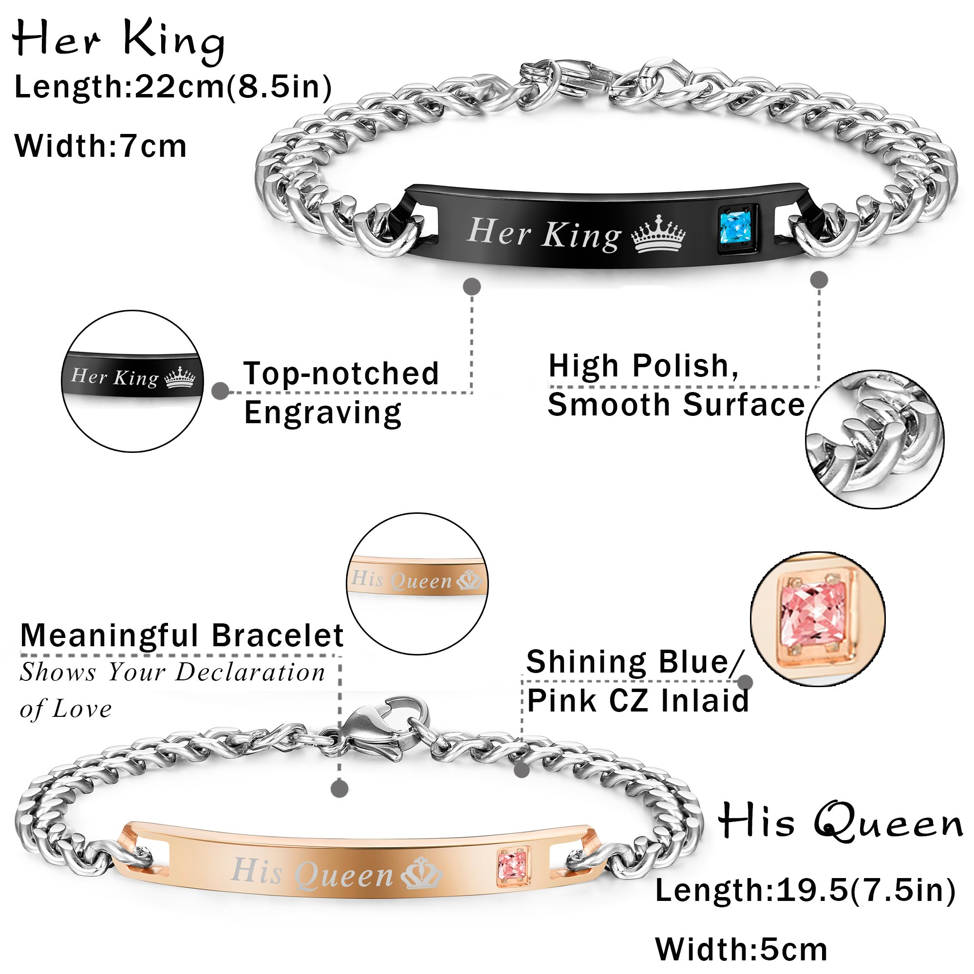 FIBO STEEL 4 Pcs Couples Bracelet for Men Women His & Her Crown Queen Bracelets Set 8mm Beads Bracelets by FIBO STEEL (Image #3)