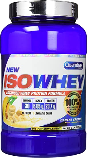 Quamtrax Proteina Iso whey sabor plátano -907 gr 30 servicios