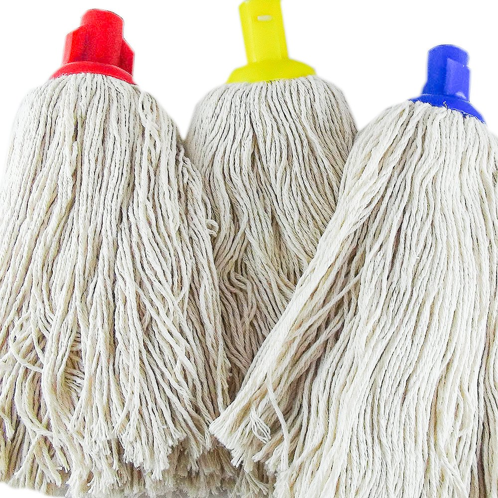 Socket Mop Heads - 3 colours in a pack (red, yellow, blue), Heavy ...