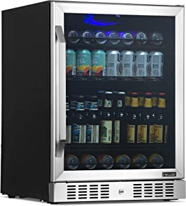 """NewAir 24"""" Beverage Refrigerator and Cooler with Glass Door, 177 Can Built-in or Freestanding Large Capacity Fridge in Stainless Steel - NBC177ss00"""