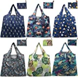 Larger Reusable Shopping Bags, Grocery Bags with Long Handles, 50LBS Recycle Totes Bags Waterproof Gift Bags with Cute Pouch Bulk (6Pack, 19.5IN x 23.5IN)