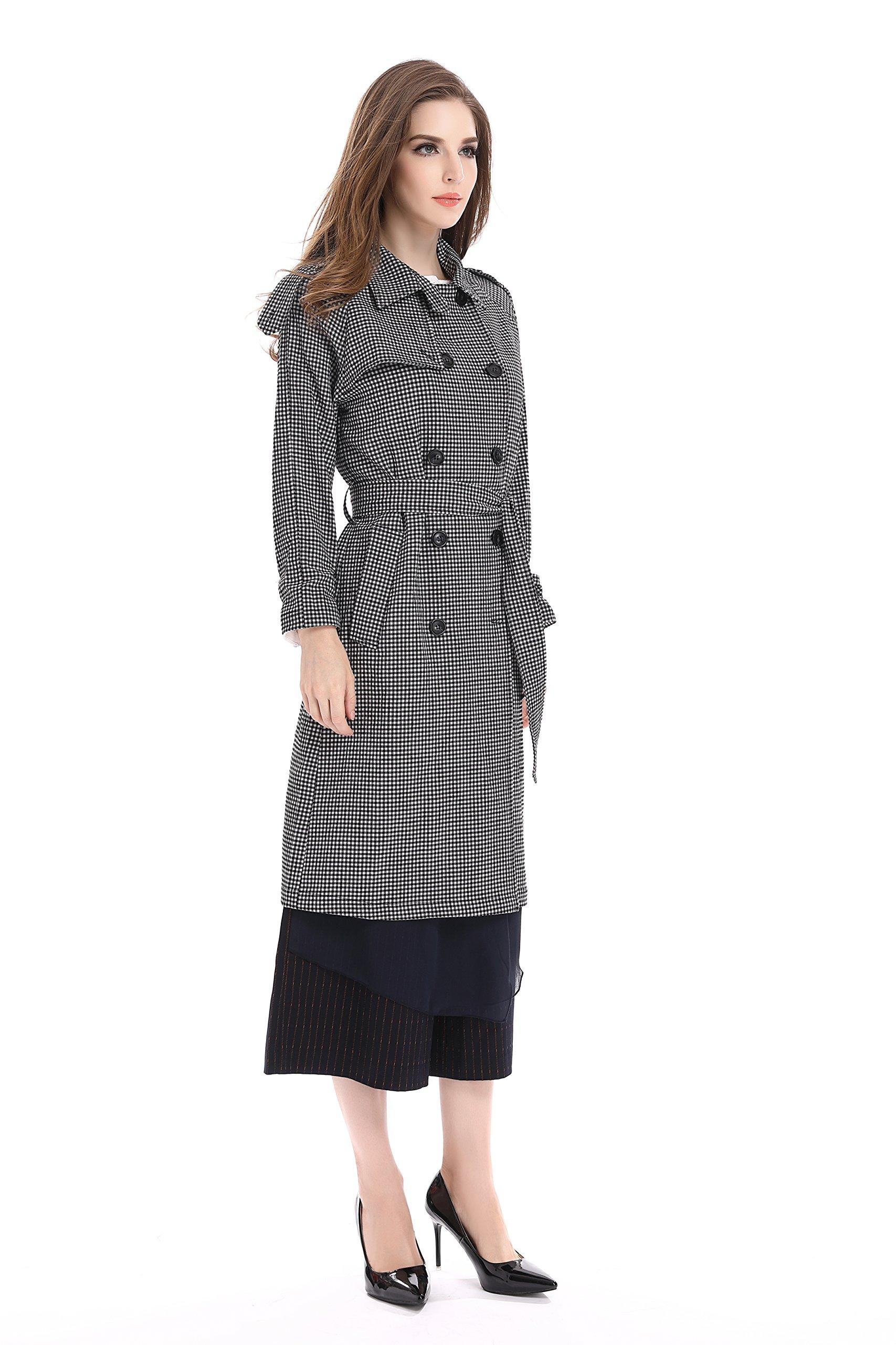 Bluemary Women's Fashion Fine Plaid Long Trench Coat With a Belt (medium, Greyish White) by Bluemary (Image #3)